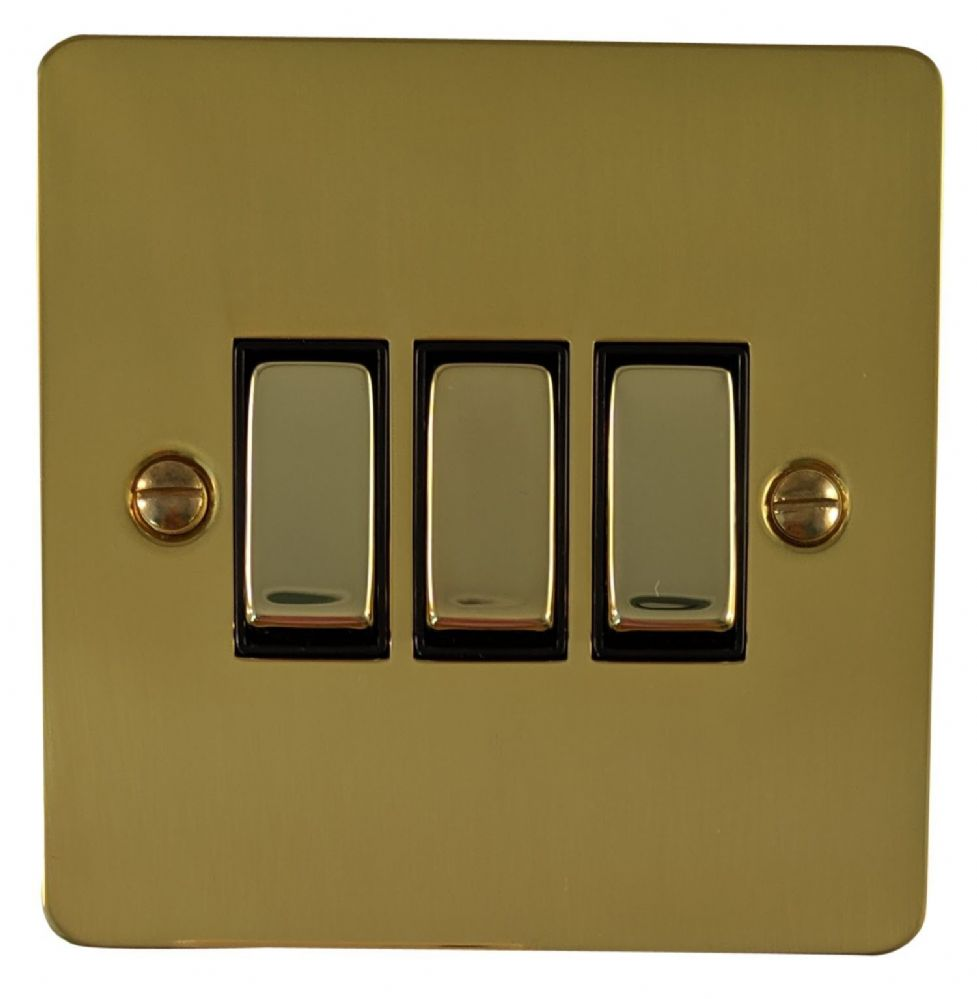 G&H FB303 Flat Plate Polished Brass 3 Gang 1 or 2 Way Rocker Light Switch